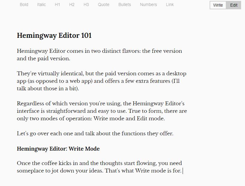 Hemingway Editor Write Mode