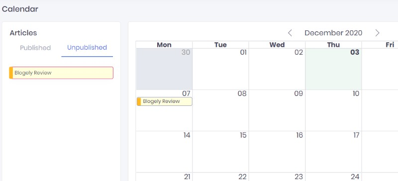 Content Calendar for Blogely Review